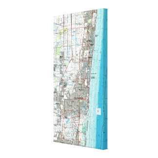 Fort Lauderdale Florida Map (1985) Leinwanddruck