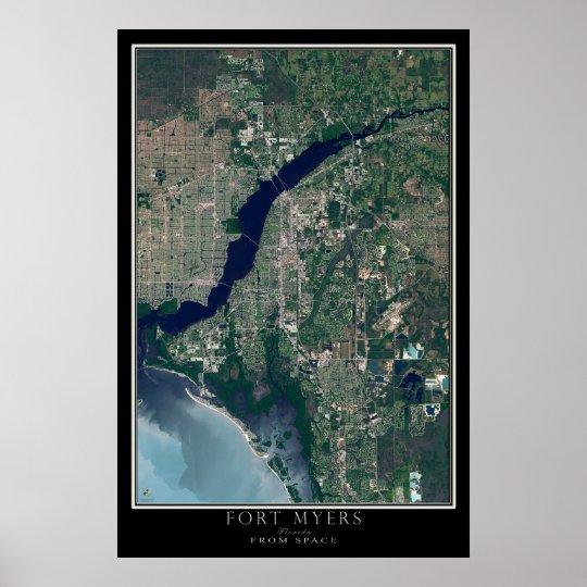 Fort Myers Florida von der Raum-Satelliten-Karte Poster