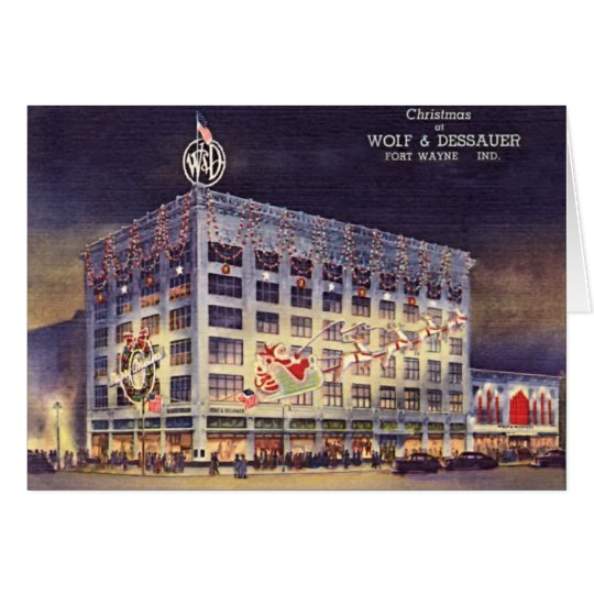 Fort Wayne Indiana Kaufhaus am Weihnachten Grußkarte