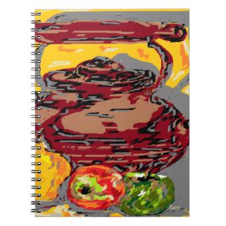 Foto-Anmerkungs-Buch-noch Leben-Tee-Kessel mit Spiral Notizblock