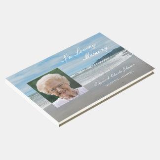Foto auf Strand-Erinnerungs- oder Begräbnis- Gästebuch