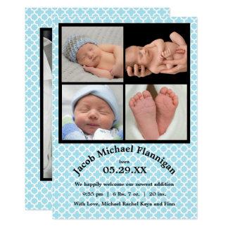 Foto-Collagen-blauer Junge - Geburts-Mitteilung 12,7 X 17,8 Cm Einladungskarte