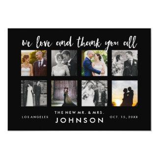Foto-Collagen-danken nobles Hochzeits-Foto Ihnen 12,7 X 17,8 Cm Einladungskarte