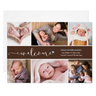 Foto-Collagen-Geburts-Mitteilung des Karte