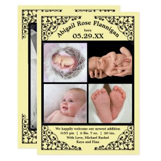 Foto-Collagen-Gelb-Spitze - Geburts-Mitteilung Karte