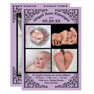 Foto-Collagen-lila Spitze - Geburts-Mitteilung Karte