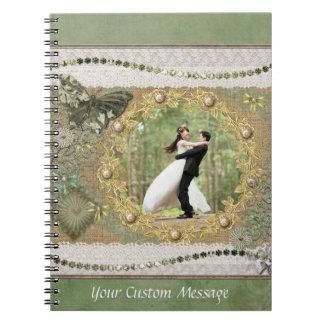 Foto-Einklebebuchseitengrün Notizblock
