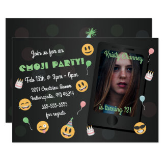 Foto Emoji Geburtstags-Party Einladung