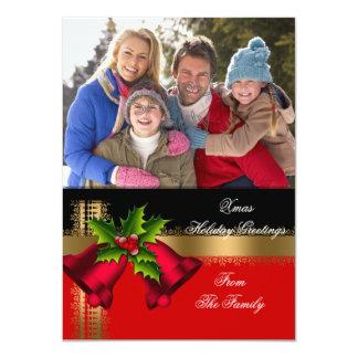 Foto-Feiertags-Weihnachtsgruß-Goldrotes Schwarzes 11,4 X 15,9 Cm Einladungskarte