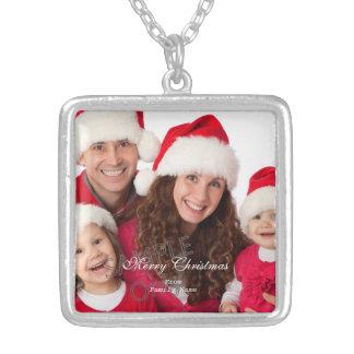 Foto-frohe Weihnachtsgrüne rote Weihnachten 2 Halskette Mit Quadratischem Anhänger