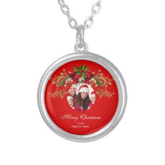 Foto-frohe Weihnachtsgrüne rote Weihnachten Halskette Mit Rundem Anhänger