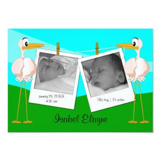 Foto-Geburts-Mitteilungen der Storch-n 12,7 X 17,8 Cm Einladungskarte