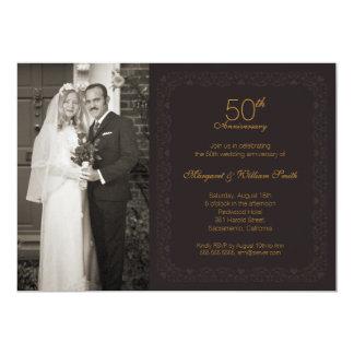 Foto-goldenes 50. Hochzeits-Jahrestags-Party 12,7 X 17,8 Cm Einladungskarte