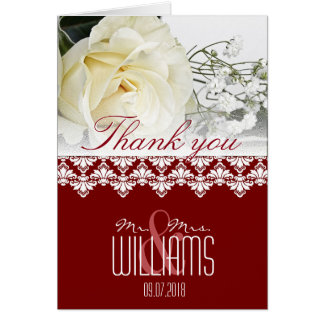 Foto-Hochzeit danken Ihnen, Damast Burgunder zu Grußkarte