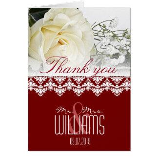 Foto-Hochzeit danken Ihnen, Damast Burgunder zu Karte