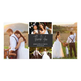 Foto-Hochzeit des grauen Weiß-vier danken Ihnen Karte