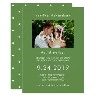 Foto-Hochzeits-Einladung des Chic-Grün-| 12,7 X 17,8 Cm Einladungskarte