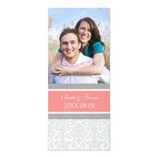 Foto-Hochzeits-Einladungs-korallenroter grauer 10,2 X 23,5 Cm Einladungskarte
