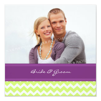 Foto-Hochzeits-Einladungs-Limone Pflaume Zickzack Quadratische 13,3 Cm Einladungskarte