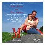 Foto-Hochzeits-Einladungs-Monogramm-rotes Weiß Individuelle Ankündigungen
