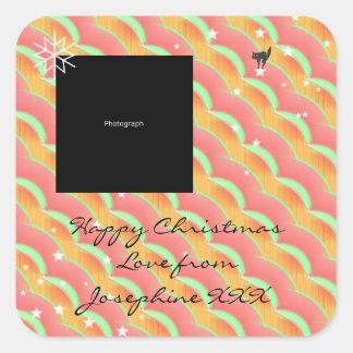 Foto-hübscher Weihnachtsaufkleber für Geschenke Quadratischer Aufkleber