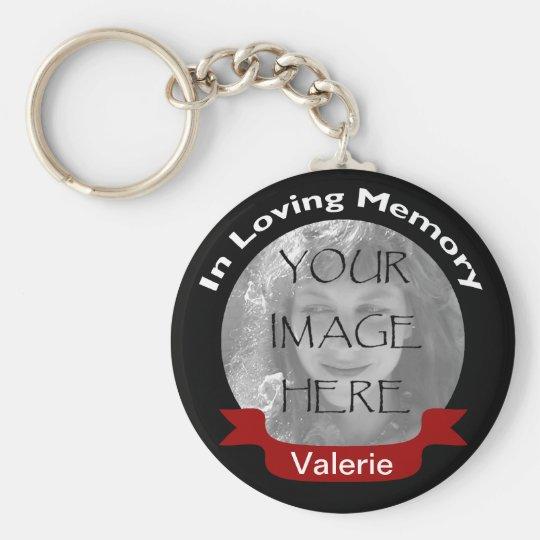 Foto in liebevolles Gedächtnis-Schwarz-rotem Standard Runder Schlüsselanhänger