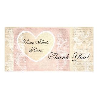 Foto-Karte danken Ihnen! Herz-Foto-Vintage Rosa Bilderkarten