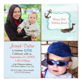 Foto-Kindergeburtstag-Einladung des Blauwal-2 Quadratische 13,3 Cm Einladungskarte