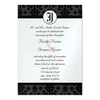 Foto-lädt schwarze Damast-Hochzeit ein Karte