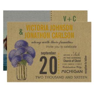 Foto-Lavendel-Gelbhydrangea-Maurer-Glas-Hochzeit 12,7 X 17,8 Cm Einladungskarte