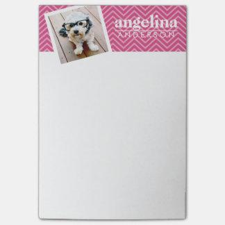 Foto mit heißes Rosa-Zickzack Muster-individuellem Post-it Klebezettel