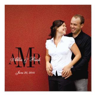 Foto-Monogrammzebra-Hochzeits-Einladungen ziehen Quadratische 13,3 Cm Einladungskarte