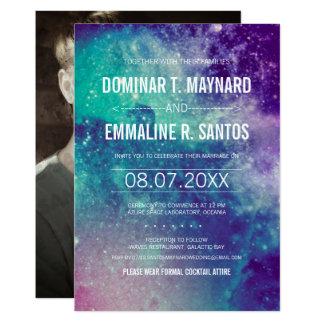 Foto-Pastellgalaxie-Hochzeits-Einladung 12,7 X 17,8 Cm Einladungskarte