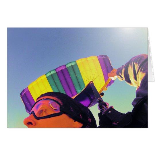 Foto perfekter Skydiver Mitteilungskarte