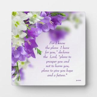 Foto-Plakette--Lila Blumen-Vert Jer 29:11 Fotoplatte