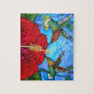 Foto-Puzzlespiel mit dem Kolibri-Malen