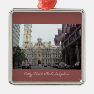 Foto Rathauses Philadelphia Quadratisches Silberfarbenes Ornament