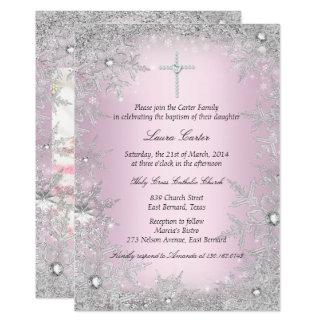 Foto-rosa silberne Schneeflocke-Taufe/Taufe 12,7 X 17,8 Cm Einladungskarte