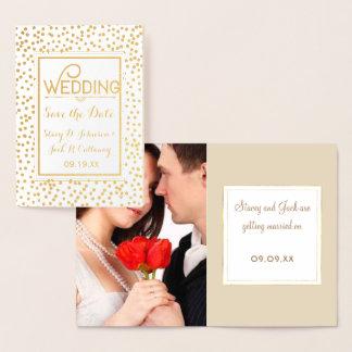 Foto-Save the Date Goldconfetti-Typografie Folienkarte