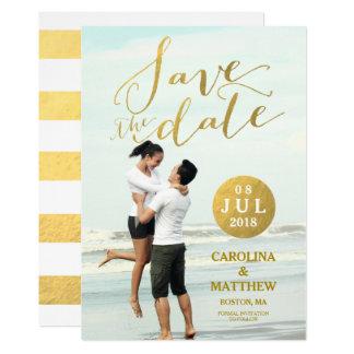 Foto-Save the Date Karte des Goldfolien-Glamour-  12,7 X 17,8 Cm Einladungskarte