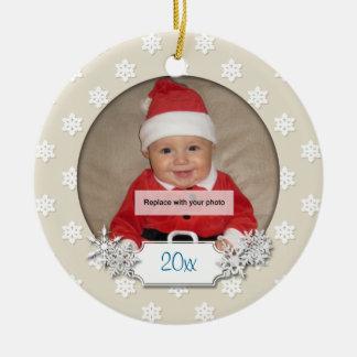 Foto-Schneeflocke-Verzierung des Babys erste Keramik Ornament