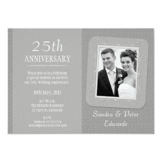 Foto-Silber-25. Hochzeits-Jahrestags-Einladung 11,4 X 15,9 Cm Einladungskarte