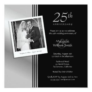 Foto-Silber-25. Hochzeits-Jahrestags-Party Quadratische 13,3 Cm Einladungskarte
