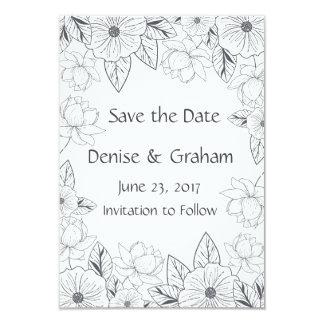 Foto skizzierte Hand gezeichnete Blumen Save the 8,9 X 12,7 Cm Einladungskarte