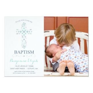 Foto-Taufe, Taufeinladung - Baby-Junge 12,7 X 17,8 Cm Einladungskarte