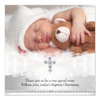 Foto-Taufe-weiße u. silberne Quereinladung Quadratische 13,3 Cm Einladungskarte