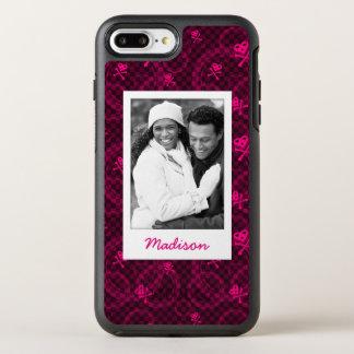 Foto u. Name rosa Emo Muster mit Kreisen OtterBox Symmetry iPhone 8 Plus/7 Plus Hülle