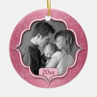 Foto-Verzierung der Familie rosa 1. Weihnachts Keramik Ornament