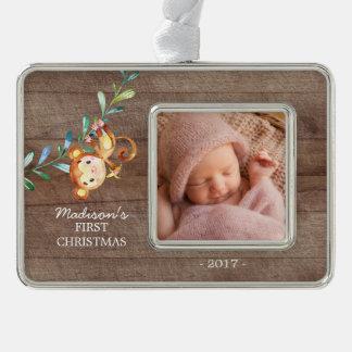 Foto-Verzierung des Affe-Mädchen-Babys erste Rahmen-Ornament Silber