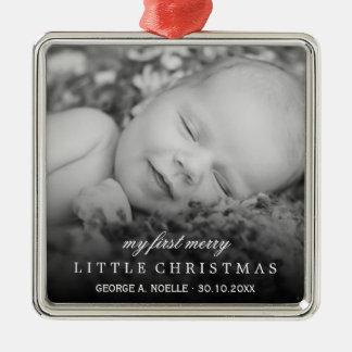 Foto-Verzierung des Babys erste fröhliche kleine Quadratisches Silberfarbenes Ornament